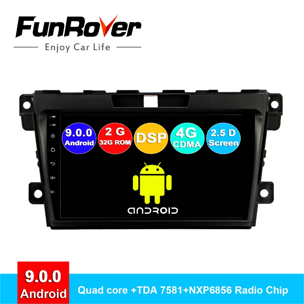 FUNROVER DSP Car Radio Multimedia android <font><b>9</b></font>.0 2.5D+IPS Video Player Navigation GPS For <font><b>Mazda</b></font> <font><b>Cx</b></font>-7 cx7 <font><b>cx</b></font> 7 2008-2015 RDS DSP BT image