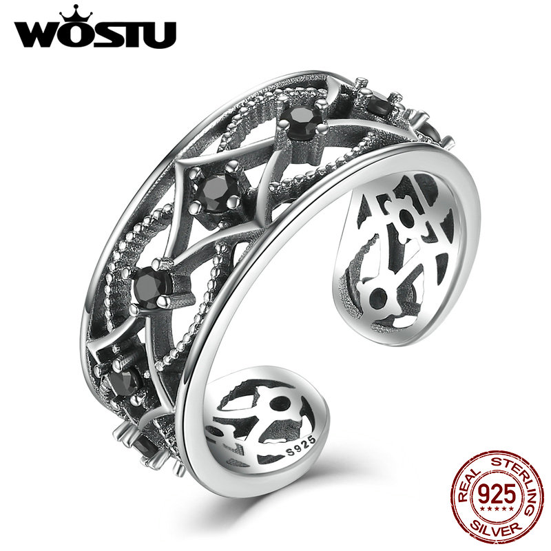 2017 TOP Selling 925 Sterling Silver Retro Black CZ Open Finger Rings For Women Men Vintage Unisex Ring Fine Jewelry Gift CSR029