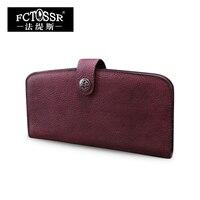 Long Women Wallets 2019 Vintage Envelope Bag Handmade Cowhide Day Clutch Purse Solid Color Leather Wallet