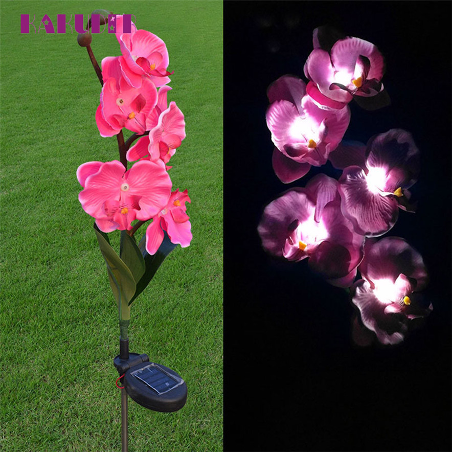 5 Head Solar LED Decorative lights Outdoor Lawn Lamp 5 Head Of Solar Butterfly Orchid flower L70630