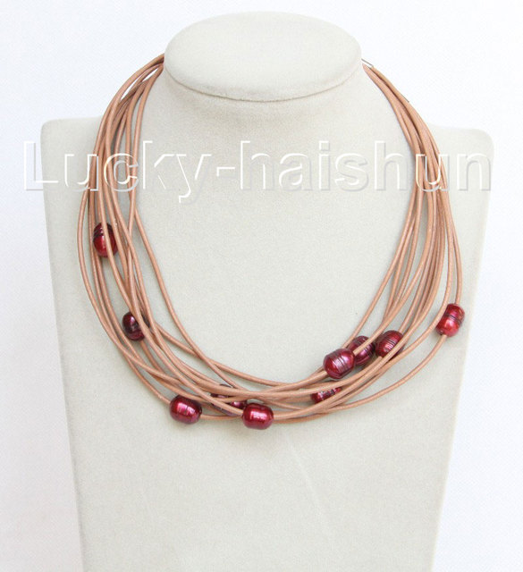 wholesale 10 piece 11mm wine red freshwater pearls khaki leather necklace j10697