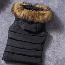 Winter 2016 New Fashion Women Ma3 jia3 Cotton-padded Jacket Hooded Fur Collar Pure color Warm Joker Women Big yards Vest A0848