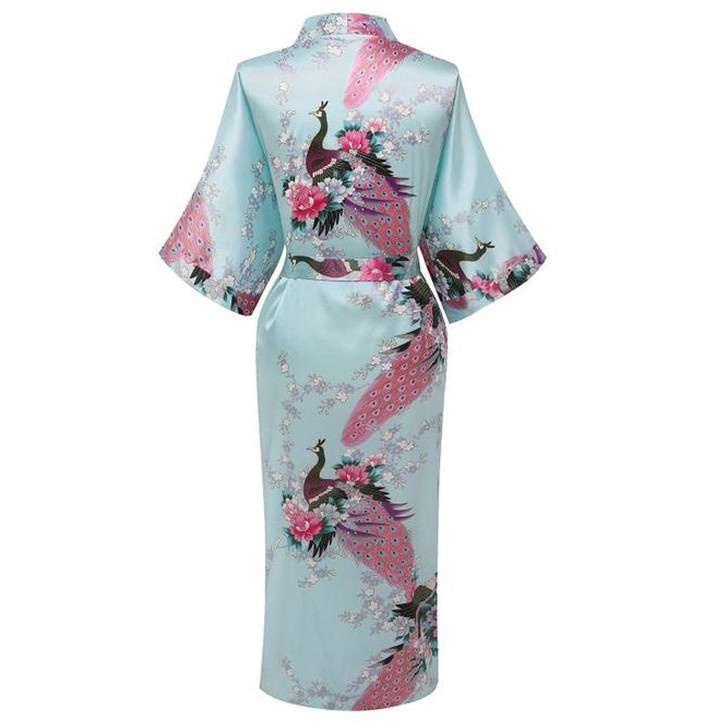68b92a16d1 Hot Sale Light Blue Ladies Robe Kimono Sexy Summer Nightgown Chinese Style  Satin Rayon Bath Gown Size S M L XL XXL XXX NR050-in Robes from Underwear  ...