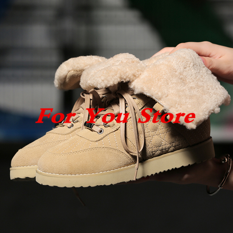 Front Lace Up Women Winter Shoes Round Toe Warm Plush Booties Girl Short Booties Snow Boots Flats Luxury Brand Chaussures Femme round toe fur women snow boots lace up short booties fashion flats korea stylish winter warm shoes ankle boots luxury brand shoe