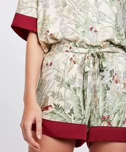 Image 5 - Sommer Druck Kurzarm Shorts Pyjamas Halb drehen unten Kragen Satin Loungewear Frauen Pijama Sexy Dessous Pyjama Startseite Set