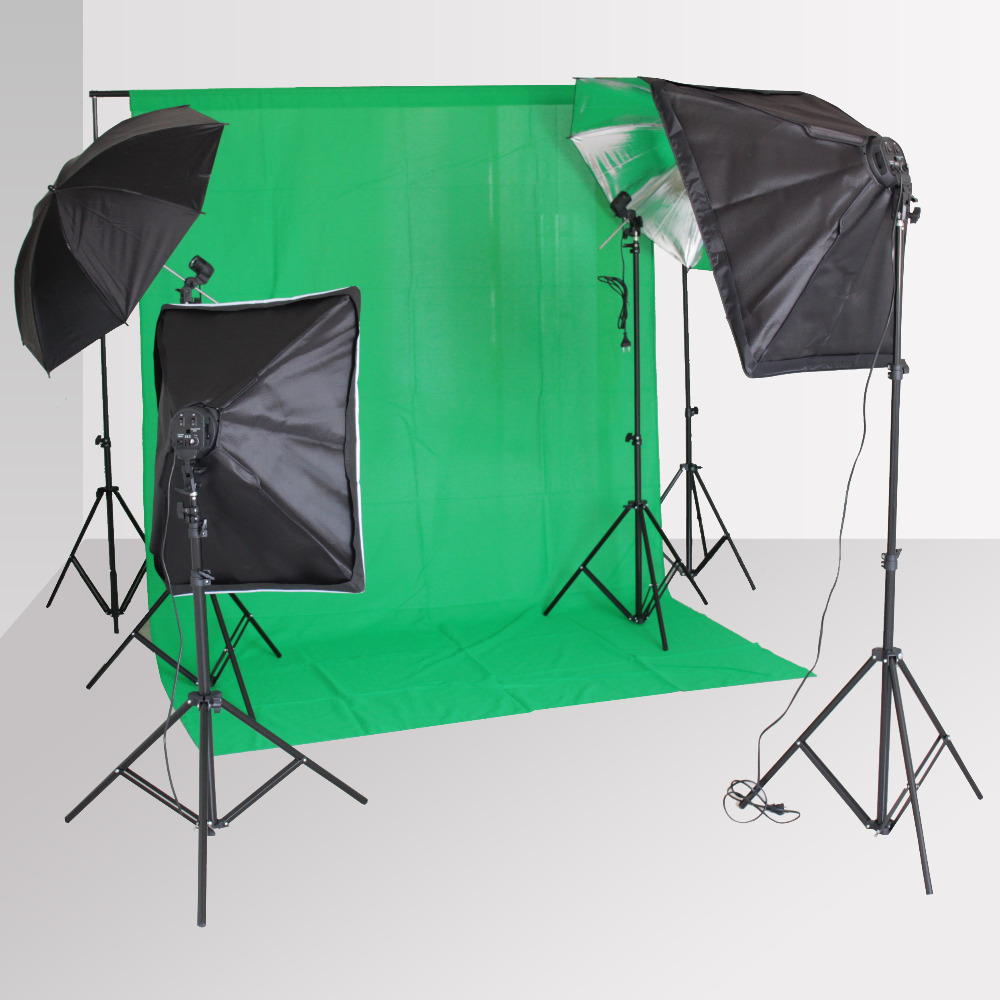 Photography Backdrop Softbox Lighting Kit with 4 Socket Holder 2M Light Stand Holder Reflective Umbrella Background Stand Cloth