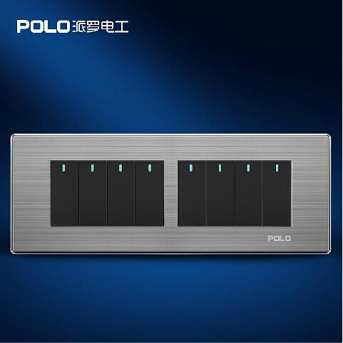 Free Shipping, POLO Luxury Wall Light Switch Panel, 8 Gang 2 Way, Champagne/Black, Push Button LED Switch, 10A, 110~250V, 220V free shipping wallpad luxury wall switch panel doorbell switch x6 series 10a 86 86mm 110 250v