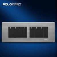 Free Shipping POLO Luxury Wall Light Switch Panel 8 Gang 2 Way Champagne Black Push Button
