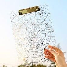 Креативный акриловый прозрачный зажим для файлов звездного неба, карта Северной Звезды, А4, тестовый зажим для бумаги, блокнот для письма, коврик для рисования, доска, файл, складка