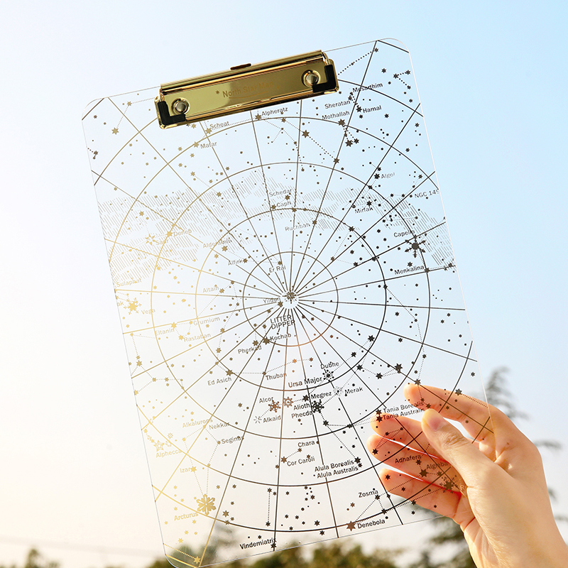 Creative Acryl Transparent Star Sky File Clip Board North Star Map A4 Test Paper Clip Writing Pad Paint Pad Board File FoldCreative Acryl Transparent Star Sky File Clip Board North Star Map A4 Test Paper Clip Writing Pad Paint Pad Board File Fold