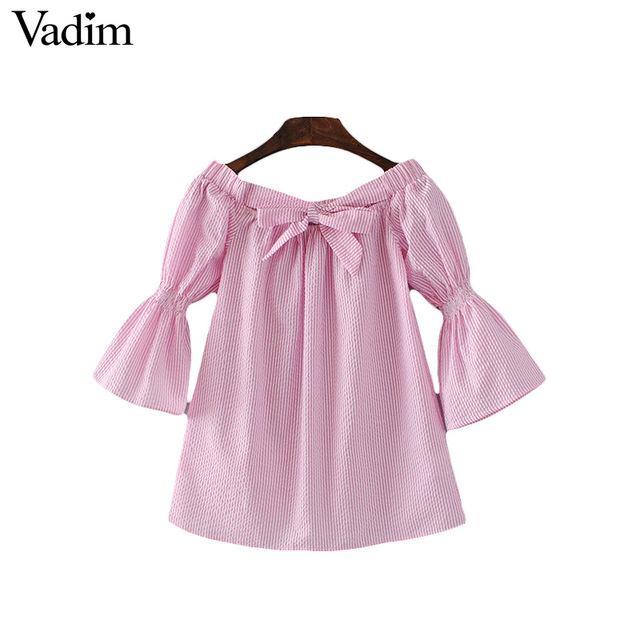 Aliexpress.com : Buy Vadim women off shoulder striped pink shirts ...