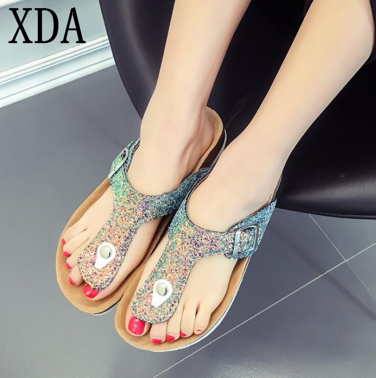 XDA 2018 New Summer Beach Cork Slippers Casual Double Buckle Clogs Women shoes Sequins rivet summer Slipper Plus Size 35-41 F177 summer women casual jelly shoes beach slippers breathable waterproof clogs for women hollow slippers flip flops shoes mule clogs