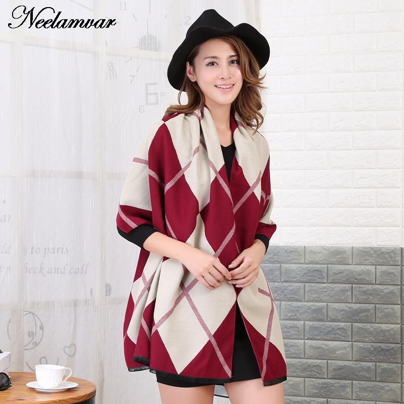Neelamvar Winter font b Tartan b font Scarf woman Plaid scarves New Designer diamond geometric cashmere