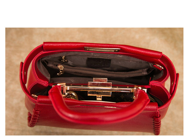 New 2017 Classic Celebrity Women Knitting Design Peekaboo Cowhide Tote Split Leather Handbags Messenger Bags For Female an539