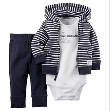 fashion summer spring bebe baby girl kids baby boy clothes coat bodysuit pant 3 pcs infant