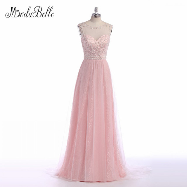 a2fbefaec5c modabelle Sexy Elegant Pink Prom Dresses Beading Lace Real Photo Illusion Floor  Length Evening Graduation Party Dress 2017
