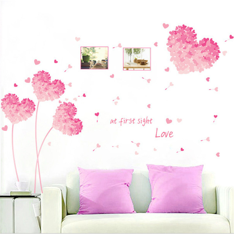 Love Hearts Wall Stickers Regular /& Large Sizes Outline Solid Removable