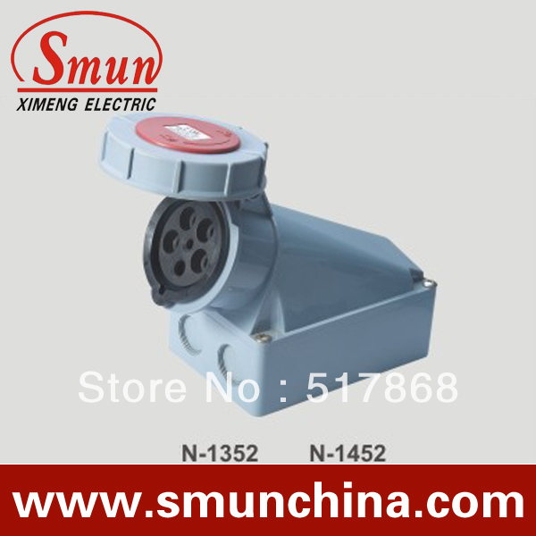 N-1452 125A 220-415v 3P+N+E 5pin Industrial Waterproof Wall Socket with CE ROHS 1 Year Warranty IP67 degree PA66 63a 3pin 220 240v industrial waterproof hidden oblique socket waterproof grade ip67 sf 433