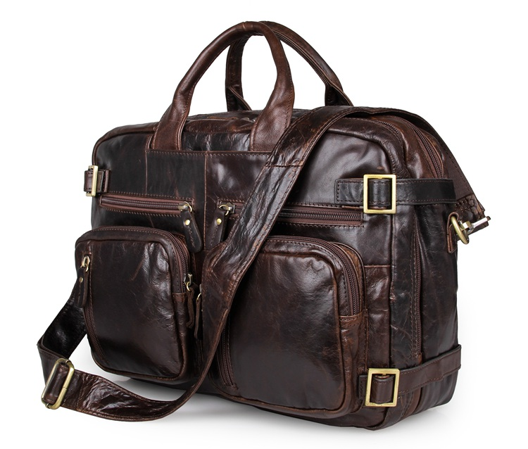 JMD Hight Quality Vintage Genuine Leather Briefcase Men's Multifunction Laptop Bag Chocolate Travel Bag  7026Q-1 guarantee genuine leather vintage style briefcase jmd business laptop bag 7085c 1