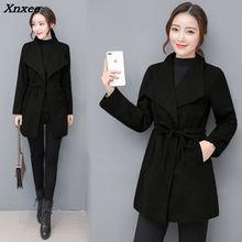 Vintage Womens Coats 2018 Winter Casual Wool Blend Coat and Jacket Adjustable Waist Ladies Xnxee