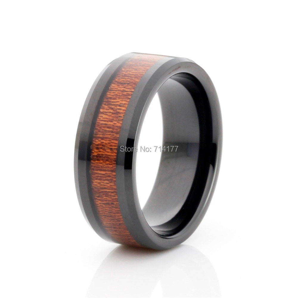 8mm black tungsten carbide wedding band real wood inlay mens jewelry ringchina mainland - Mens Wood Wedding Rings