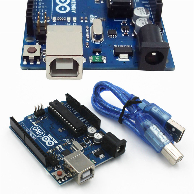 One Set UNO R3 MEGA328P ATMEGA16U2 Development Board For Arduino+USB Cable SGHS Compatible uno r3 i o isp 3 3v 5v atmega328p development mega328p atmega16u2 board for arduino module compatible with usb cable