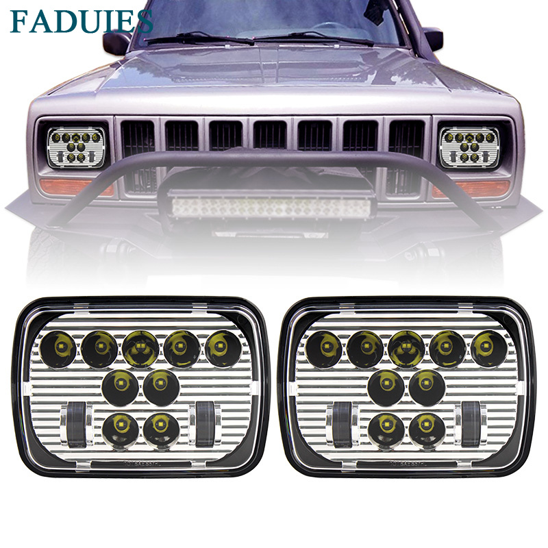 FADUIES 7x 6 5 x 7 inch Chrome Projector LED Headlights For Jeep Wrangler YJ Cherokee XJ H6054 H5054 H6054LL 69822 6052 6053 marlaa 7x 6 5 x 7 inch black projector led headlights for jeep wrangler yj cherokee xj h6054 h5054 h6054ll 69822 6052 6053