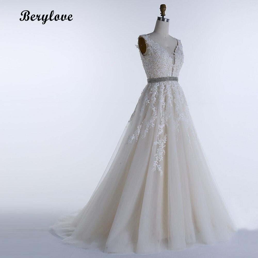 e3dcd2dbc94 BeryLove A Line Light Champagne Wedding Dresses 2018 V Neck Backless ...