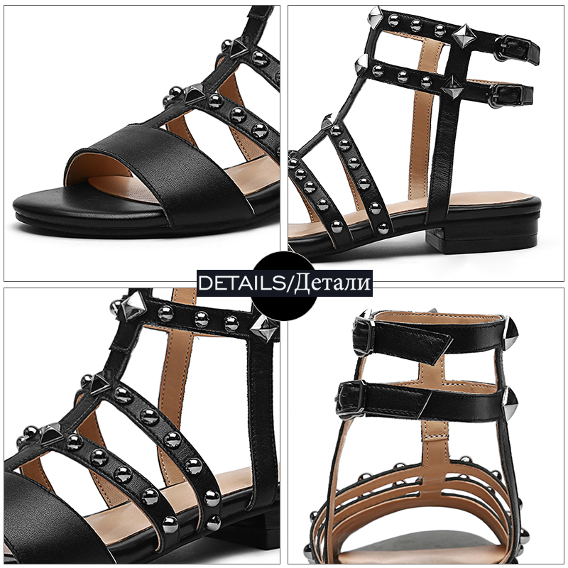 Gladiateur En D'été Beige Mode Slingback Casual Bout Rivet Sandales Ouvert Cuir noir Femmes Wetkiss 2018 Chaussures À PfdwqP