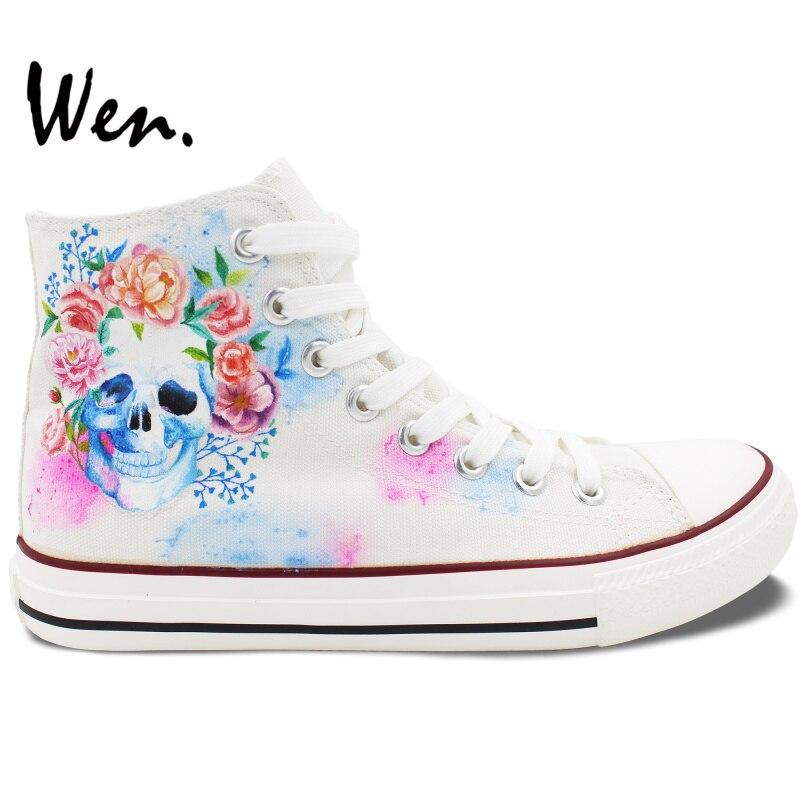 Prix pour Wen Blanc Peint À La Main Chaussures Custom Design Crâne Coloré Fleurs Floral de Haute Top Espadrilles de Toile À Lacets pour Hommes Femmes cadeaux
