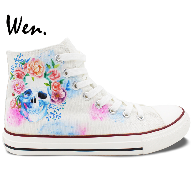 Wen White Hand Painted Shoes Design Custom Skull Colorful Flowers Floral High Top Canvas Sneakers Lace Up for Men Women's Gifts boys girls converse all star hand painted shoes women men shoes pokemon go charizard design high top canvas sneakers