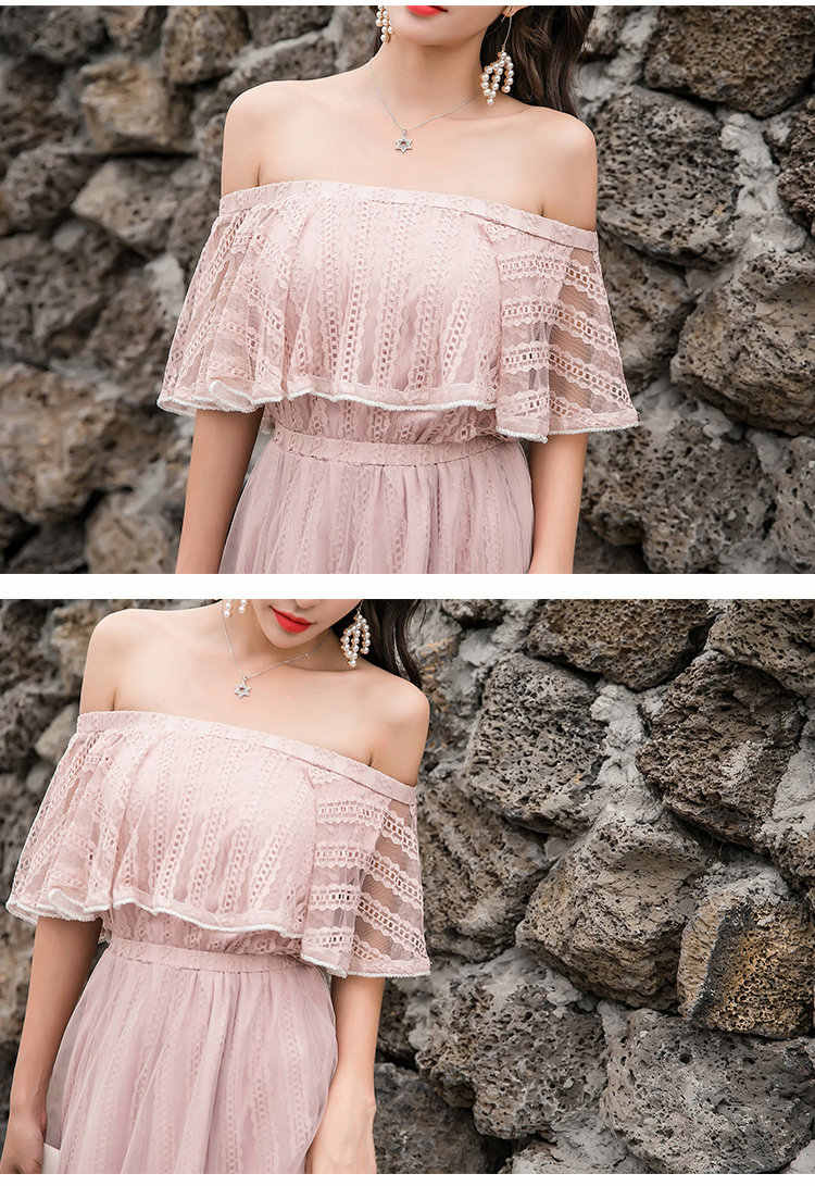 ba3544ea70 ... summer women's dress Large size fashion lace gauze beach holiday  Ruffles shoulder long dress Bohemia sexy