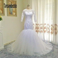 Sheer Jewel Neckline Applique Lace Mermaid 3 4 Sleeves Mermaid Wedding Dresses Illusion Back White Bridal