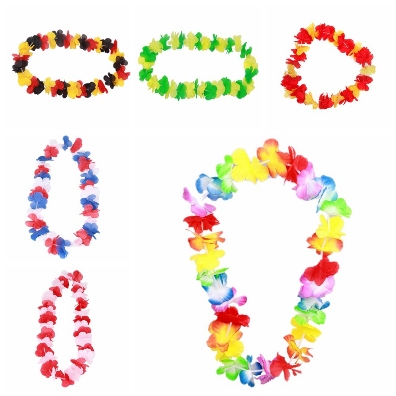 2 PCS World Cup Fans Cheer Garland  Hawaii Football Party Dress Necklace Italy National Flag Color Hawaiian Flowers Lei Garlands
