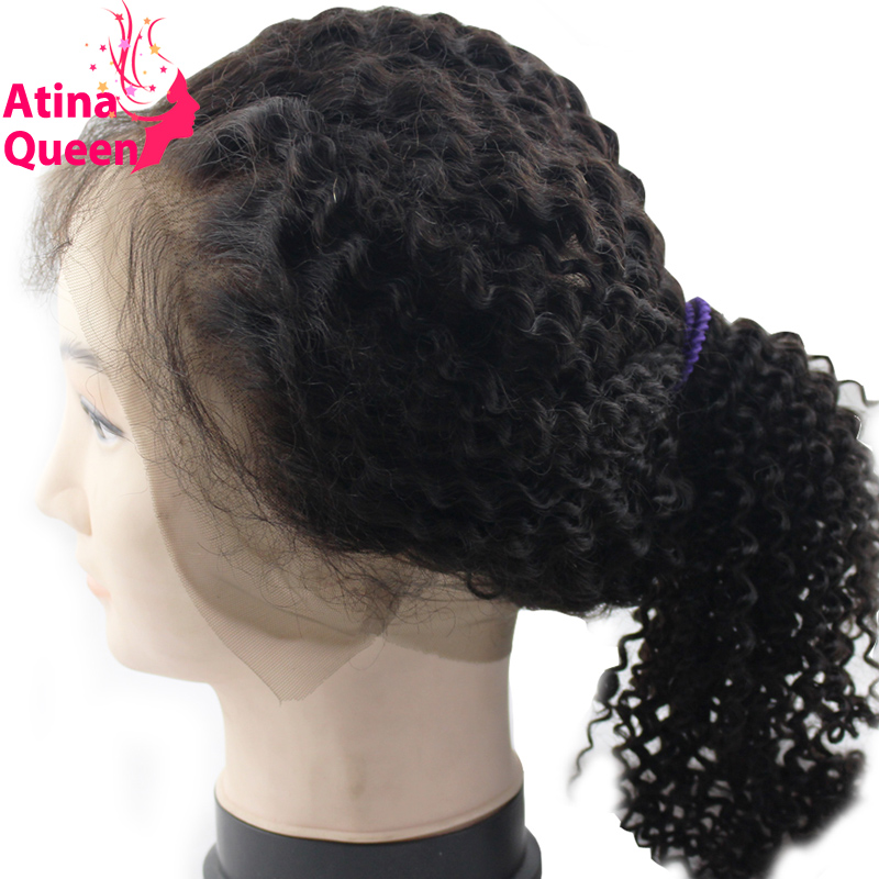 Atina Queen Kinky Curly 360 Lace Frontal With Baby Hair Pre plucked Mongolian Afro Kinky Curly