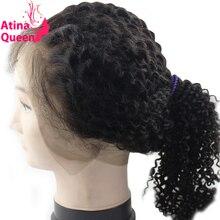 Атина королева странный вьющиеся 360 кружева фронтальной с ребенком волос предварительно сорвал монгольский афро кудрявый вьющиеся застежка 100% человеческих волос