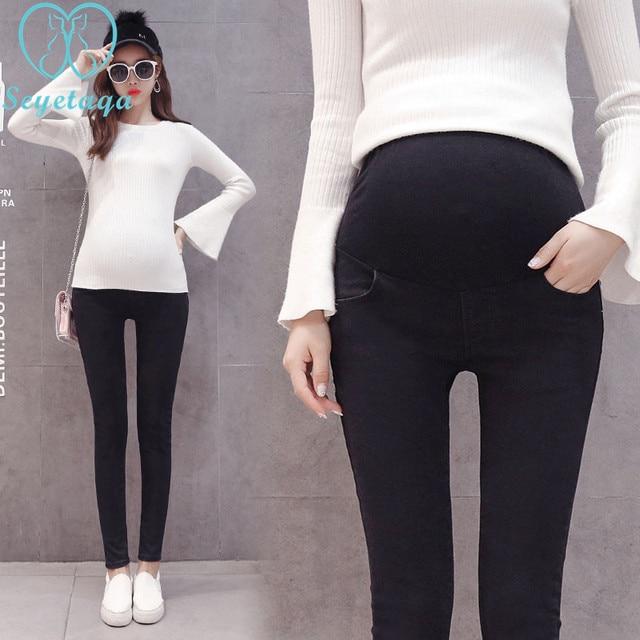 dd8df29d0fa9c 1032# Black Stretch Denim Maternity Jeans Elastic Waist Belly Pencil  Trousers Clothes for Pregnant Women Autumn Pregnancy Pants