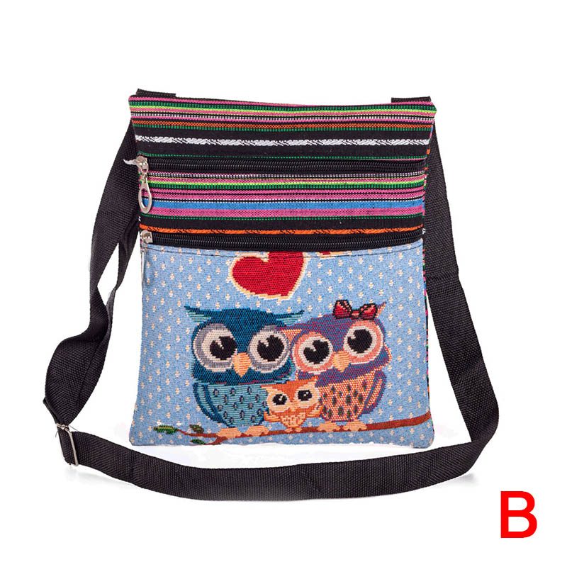 Women Lady Shoulder Bag Messenger Owl Embroidered Vintage For Mobile Phone Money AB@W3