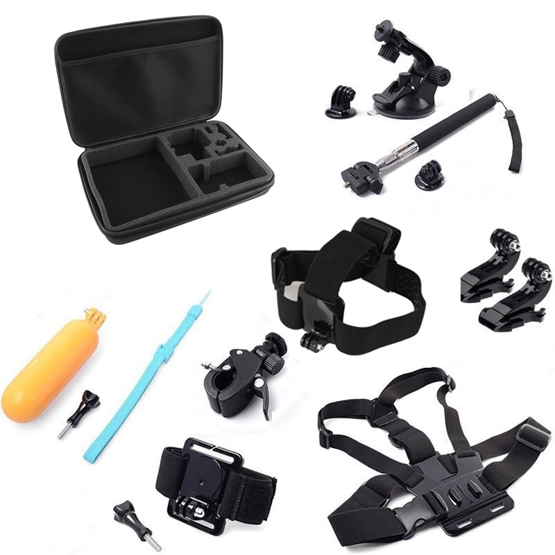 For Gopro Hero Accessories Set Wrist Head Chest Strap Suction Selfie Stick Floating Storage Case for Gopro Hero 3+ 4 Sj4000 Kit