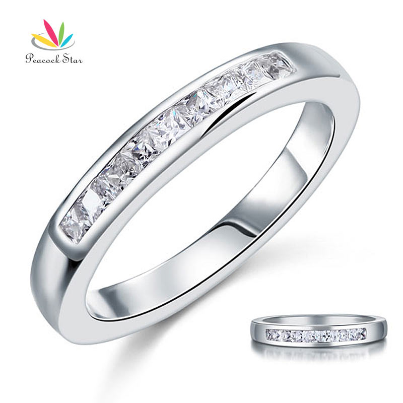 Peacock Star Princess Cut Solid 925 Sterling Silver Wedding Ring Band Jewelry CFR8071