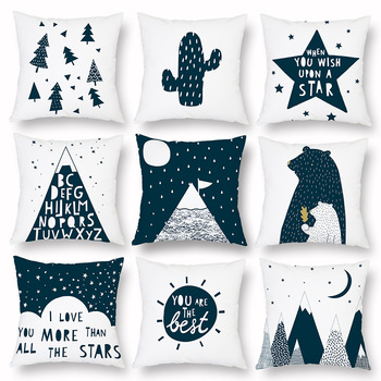 Cartoon Geometry Cushion Cover Trees Stars Cactus Bear Print Decorative Pillow Covers for Sofa Bed Sweet Home Decor Case 45x45cm boho pillow case cotton embroidered throw pillow covers decorative cushion cover 45x45cm for sofa bed chair home decor