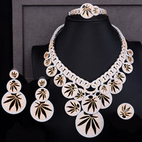 GODKI Luxury Maple leaf Peace 4PCS Nigerian Bridal Jewelry Sets For Women Cubic Zirconia Crystal CZ Dubai India jewelry Set 2019