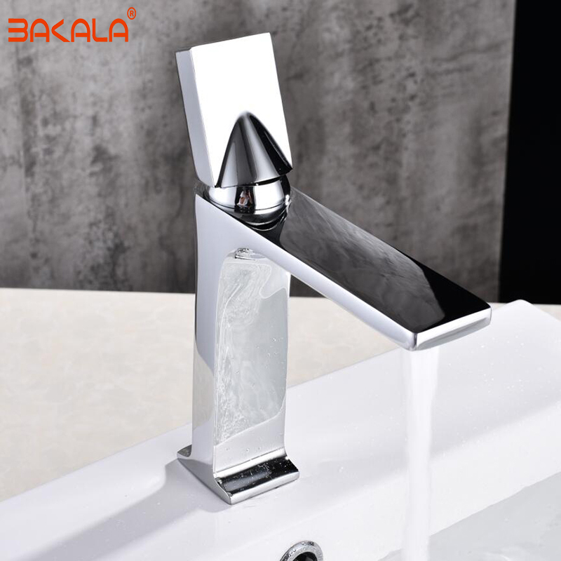 BAKALA Faucet Chrome And Black Faucet Cold And Hot Water Basin Faucet Basin Sink Mixer Tap Brass Made Deck Mounted BR-2018A27A цена