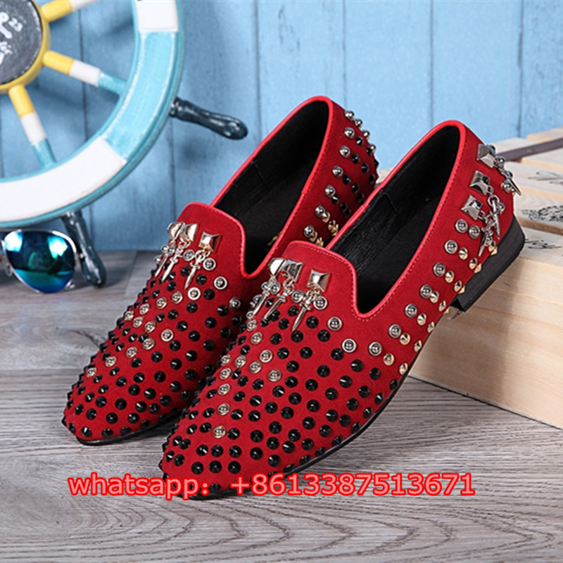 New Fashion Red Suede Dandelion Studs Covered Mens Loafers Slip On Spikes Flat Shoes Men Casual Dress Party Shoes Mens black and bule suede red bottom luxury mens loafers new france brand slip on spikes shoes