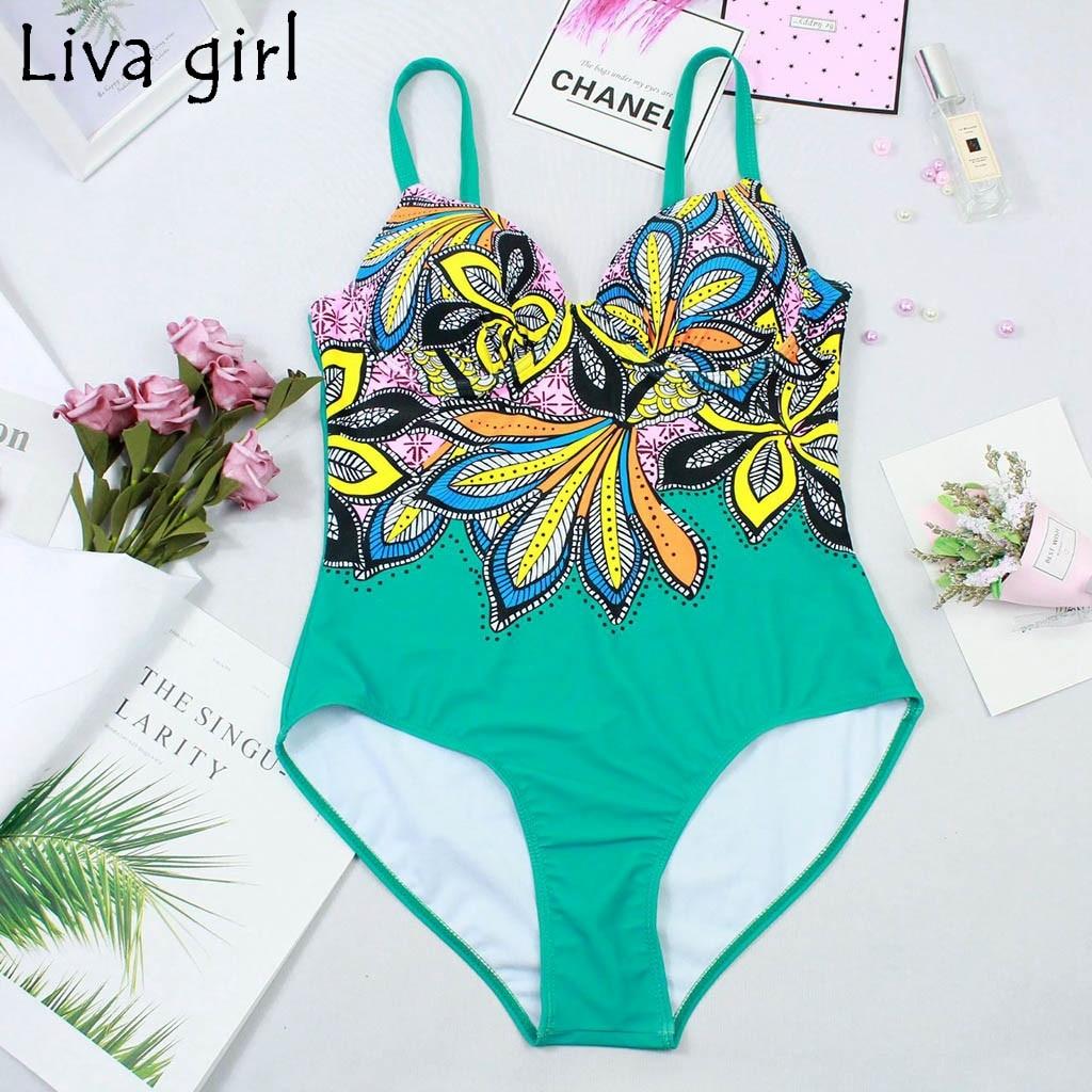 Liva girl Retro Print Women One-Piece Suits new Padded Girls Swim Swimwear 2019 hot Set Beach Tummy Control Swimwear Swimsuit