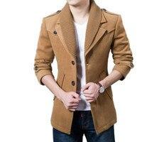 New Winter Men Woolen Coat Slim Pea Coat 2017 Fashion Cashmere Collar Warm Wool Jacket Mens Trench Coat Wool Plus Sizes S xxxl