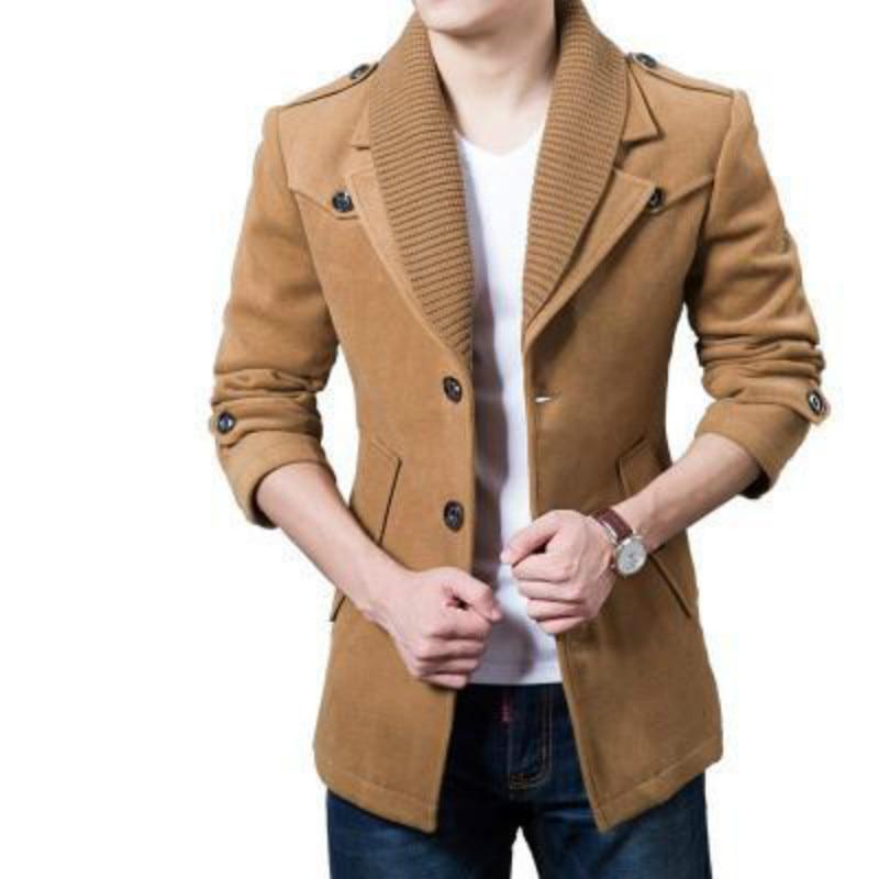 Nouvelle Hiver Hommes Manteau De Laine Mince De Pois Manteau 2017 De Mode Cachemire collier Laine Chaude Veste Hommes Tranchée Manteau De Laine, Plus Tailles S-xxxl