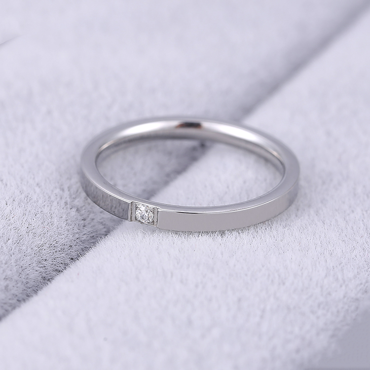 KNOCK Top Quality Concise Zircon Wedding stainless steel material Rose Gold Steel color Ring Never Fade  Jewelry 3