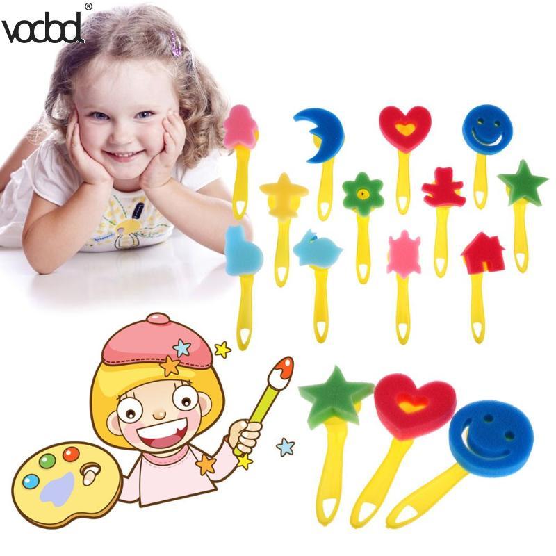 12pcs/set Kids Paint Brush Mixed Pattern Colored Child Sponge Art Graffiti Drawing Toy Tool Plastic Handle Brushes Paint Brushes