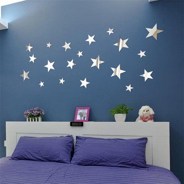20 CHIẾC DIY Ngôi Sao Gương Nghệ Thuật Treo Tường Dán Acrylic dán tường phòng khách phòng ngủ Dán muraux Adesivos de parede july31